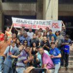 Trabajadoras y trabajadores protestaron frente a los Tribunales Laborales de Caracas